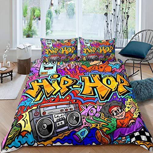 Hip Hop Bedding Set,Watercolor Graffiti Duvet Cover Rock Theme Comforter Cover for Teens Boys Girls,Street Art Fashion Bedding Quilt Cover Set Decorative 3 Piece with 2 Pillowcases,Queen Size