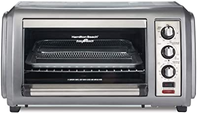 "Hamilton Beach Sure-Crisp Air Fryer Countertop Toaster Oven, 6 Slice, Fits 12"" Pizza, 1500W, Easy-Reach Access Door, Powerful Circulation, Grey"