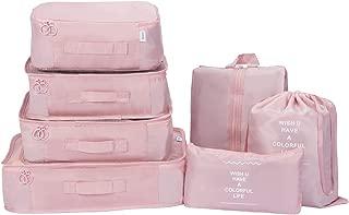 7Pcs SET Travel Luggage Organizer Packing Cubes Set Storage Bag Waterproof Laundry Bag Traveling Accessories(pink)