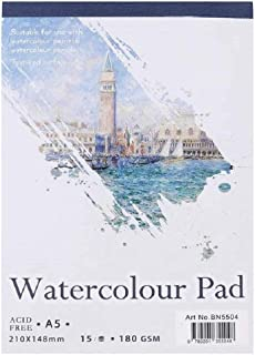 Glitz A5 Watercolor Textured Pad, Use with Paint Pencil Ink Charcoal Pastel and Acrylic Sketch Book Universal Artist Sketch Paper Pad Artist Sketch Book Watercolor Paper
