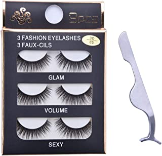 558a190a2c2 YCYAN 3 Pairs Handmade False Eyelashes Natural Soft Fake Eye Lashes, with  Stainless Steel Eyelash