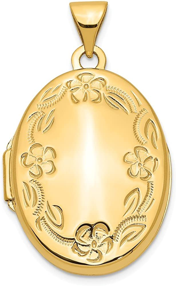 14k Yellow Gold Hand Engraved Floral Oval Photo Pendant Charm Locket Chain Necklace That Holds Pictures Fine Jewelry For Women Gifts For Her
