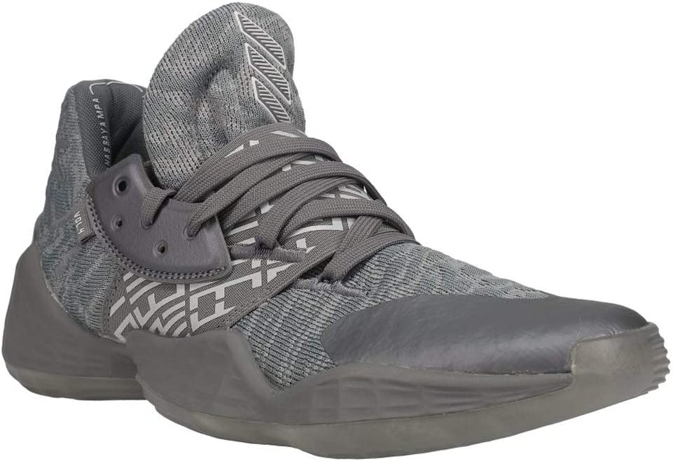 adidas Mens Harden Vol.4 Basketball Casual Shoes Grey Sneakers - Complete Free Shipping 1 year warranty