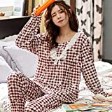 WJFGGXHK Pigiama Donna,Fiore Plaid Colletto in Pizzo Stampato Design Pjs Sleepwear Suit Long Sleeve Tops Pants Set Loose Casual Loungewear Nightwear for Adult Ladies Jogging Homewear Outfits