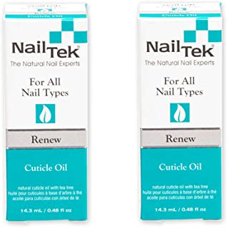 Nail Tek Renew, Natural Cuticle Oil with Tea Tree for All Nail Types, 0.48 oz, 2-Pack