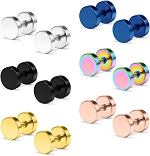 Ruifan 18G Mix Color Stainless Steel Mens Womens Faux Gauges Ear Plugs Tunnel Earrings Stud 3-8mm 6Pairs
