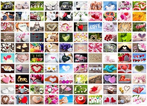 Set 100 Premium Postkarten zur Hochzeit - Hochzeitsspiel - Hochzeitsgeschenk - Liebe + Herzen – Dekoidee – Valentinstag - Gästebuch - Geburtstag - Danke (100 Postkarten)
