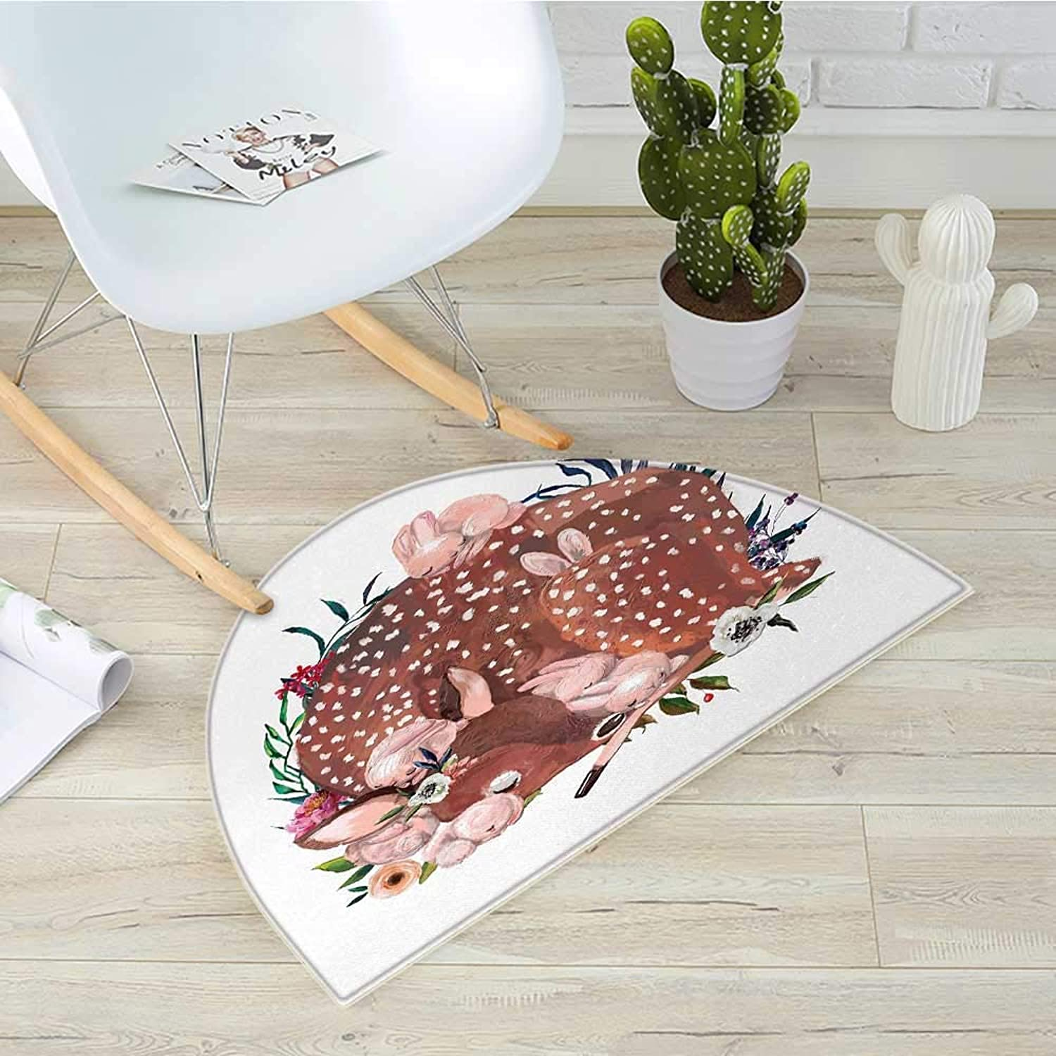 Kids Semicircle Doormat Artistic Illustration of a Deer with Hares Sleeping in The Forest Sweet Wildlife Theme Halfmoon doormats H 39.3  xD 59  Multicolor