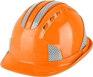 Safety Helmet for Worker, Ventilate Protective Cap ABS Hard Hat Reflective Stripe Safety Helmet for Construction Site(Orange)