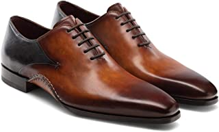 Costoso Italiano Black & Brown Leather Formal Lace Up Oxford Shoes for Men