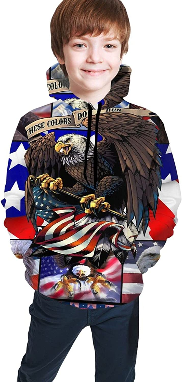 Kimisoy Teens Pullover Hoodie Eagle American Flag Lightweight Sweatshirt Windbreaker Hooded Shirts