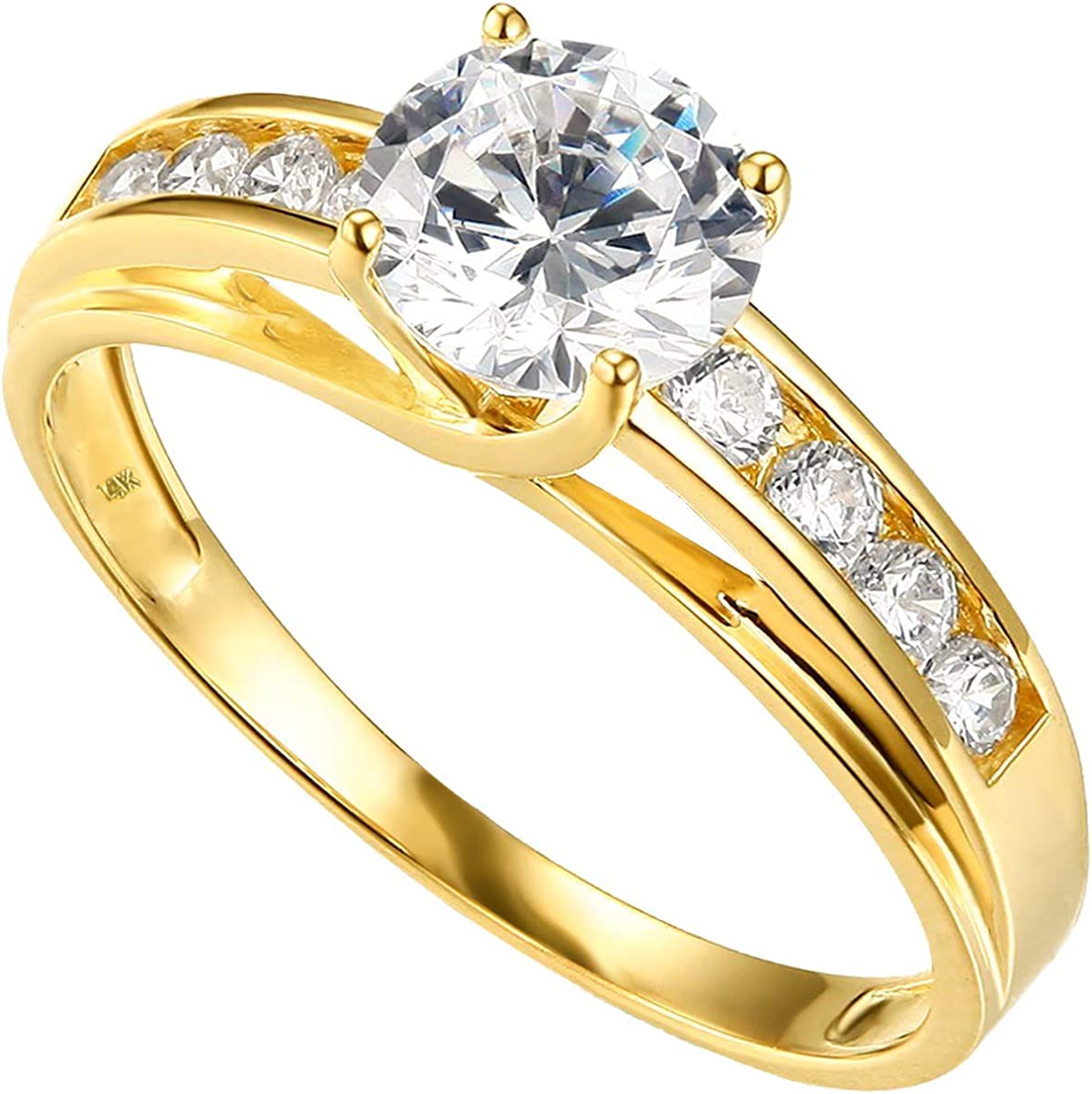 14k or 10k Yellow OR White Gold Solid Wedding Engagement Ring- Rings for Women Gold-Thick Gold Ring - 14K Solid Yellow or White Gold proposal female
