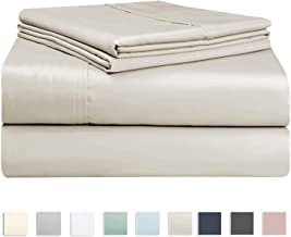 400 Thread Count Cotton Beige Bed Sheet Single Set, Soft Luxurious Sateen 100% Long Staple Cotton Bed Sheets Single, 4 PC Single Bedding Set Include 1 Fitted Sheet, 1 Flat Sheet & 1 Pillowcase