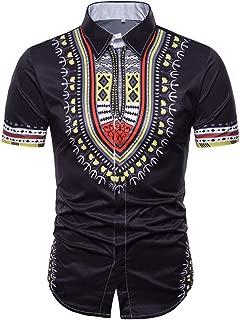 Qiyun Autumn Shirt Men Shirt Ethnic Style 3D Printing Lapel Short Sleeve Male Casual Slim Shirt