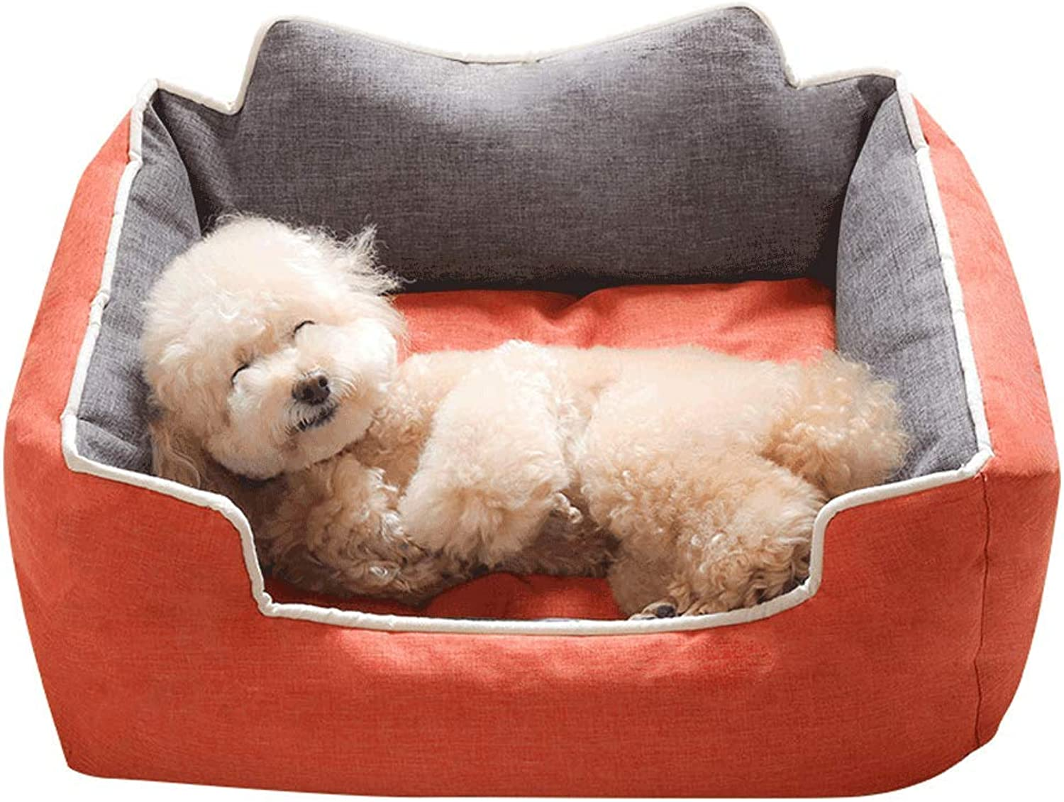Dog Bed,Kennel Removable and Washable Teddy Dog Than Bear Small Dog golden Retriever Medium Pet Supplies Four Seasons Universal (color   orange, Size   S)