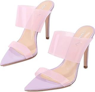 VI&VI Vivi Womens Fashion Sexy High Pointed Toe Heels Slip on Dress Sandals