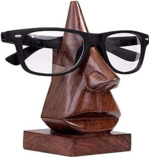 GD Handmade Wooden Nose-Shaped Spectacle Holder, Eyeglass Holder,Specs Stand,Sunglasses Holder,Wooden Eyeglass Stand for Men-Women-Kids for Office Desktop/Tabletop, Color Brown