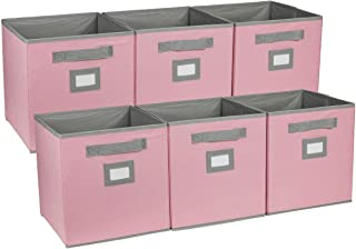 TQVAI 6 Pack Foldable Cubes Storage Bins with Label Holder, Pink