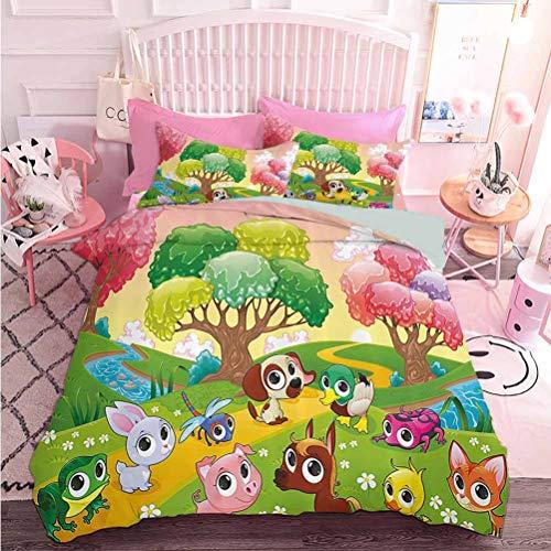 Hiiiman - Ropa de cama con estampado 3D y diseño de hada y mariquita con dibujo a mano de personajes divertidos de fantasía y dos fundas de almohada