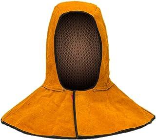 牛革 防炎 溶接用 日の粉の防止 帽子 ぼうし 溶接帽子 溶接頭巾 マスク マント式 ヘルメット 頭部 顔 首 保護