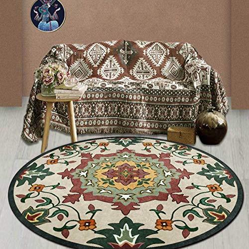 QETU Tappeto Rotondo, Vintage Mandala Rotondo Stampato in Stile Etnico Soggiorno Tappeto Balcone Tavolino da tè Caffetteria Bar Arredamento Camera da Letto Tappetino,160cm
