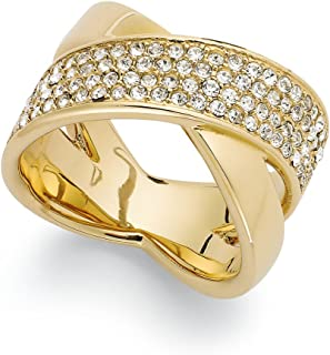 Gold Tone Pave Criss-Cross Band X Ring MKJ2867 (6)