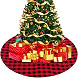 CHEPL Gonne per Alberi di Natale 36 Pollici Gonna per Albero di Natale Buffalo Rosso e Nero Buffalo Plaid Albero di Natale Gonna per Festa di Natale Partito Vacanza Decorazione