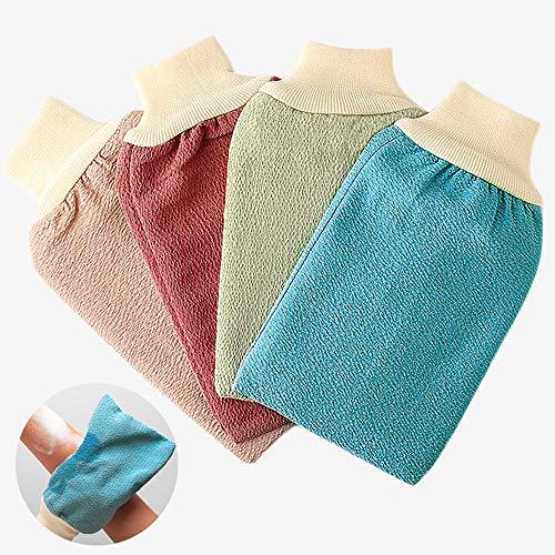 Peeling Körperpeeling Peeling-Handschuh - Schrubben und entfernen Sie abgestorbene Hautzellen, natürlicher Reibungshandschuh für Badezimmer (4er Pack)