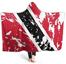 NiYoung Soft Cozy Hooded Throw Blankets for Sofa Couch Winter/Autumn, Large Wearable Blanket Keep Warm Sherpa Flannel School Blankets (Trinidad and Tobago Flag Blanket)