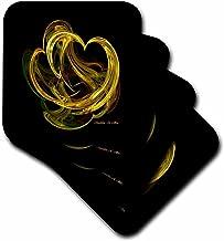 3dRose LLC Heart of Gold Fractal Art Ceramic Tile Coaster, Set of 4