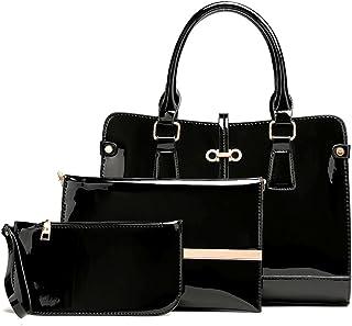 DOODOO レディース ショルダーバッグ ハンド ミニ ポシェット 肩掛け 斜めかけ トート Shoulder Hand Bag for Women PU レザー 3個セット
