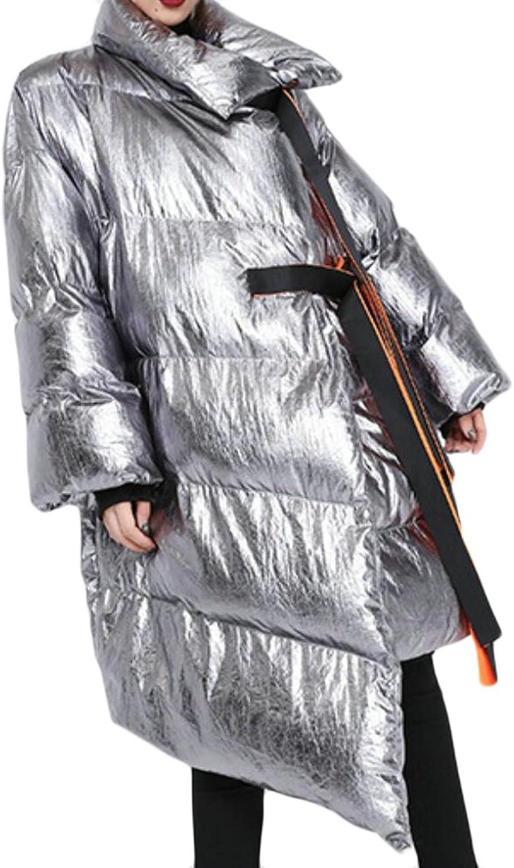 Desolateness Women's Winter Irregular Jacket Asymmetric Parka Long Down Coat