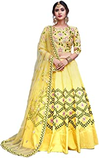 bd678c9718 Bhurakhiya Women's Embroidered Taffeta Satin Lehenga Choli with Blouse  Piece (Yellow_Panther,Free Size)