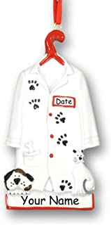 Personalized Veterinarian Pet Doctor or Vet Tech White Lab Uniform Jacket with Dog and Cat Paw Prints Hanging Christmas Ornament with Custom Name and Date (Optional)
