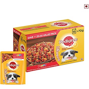 Pedigree Puppy Wet Dog Food, Chicken And Liver Chunks Flavour in Gravy with Vegetables, 15 Pouches ( 15 X 70 g )