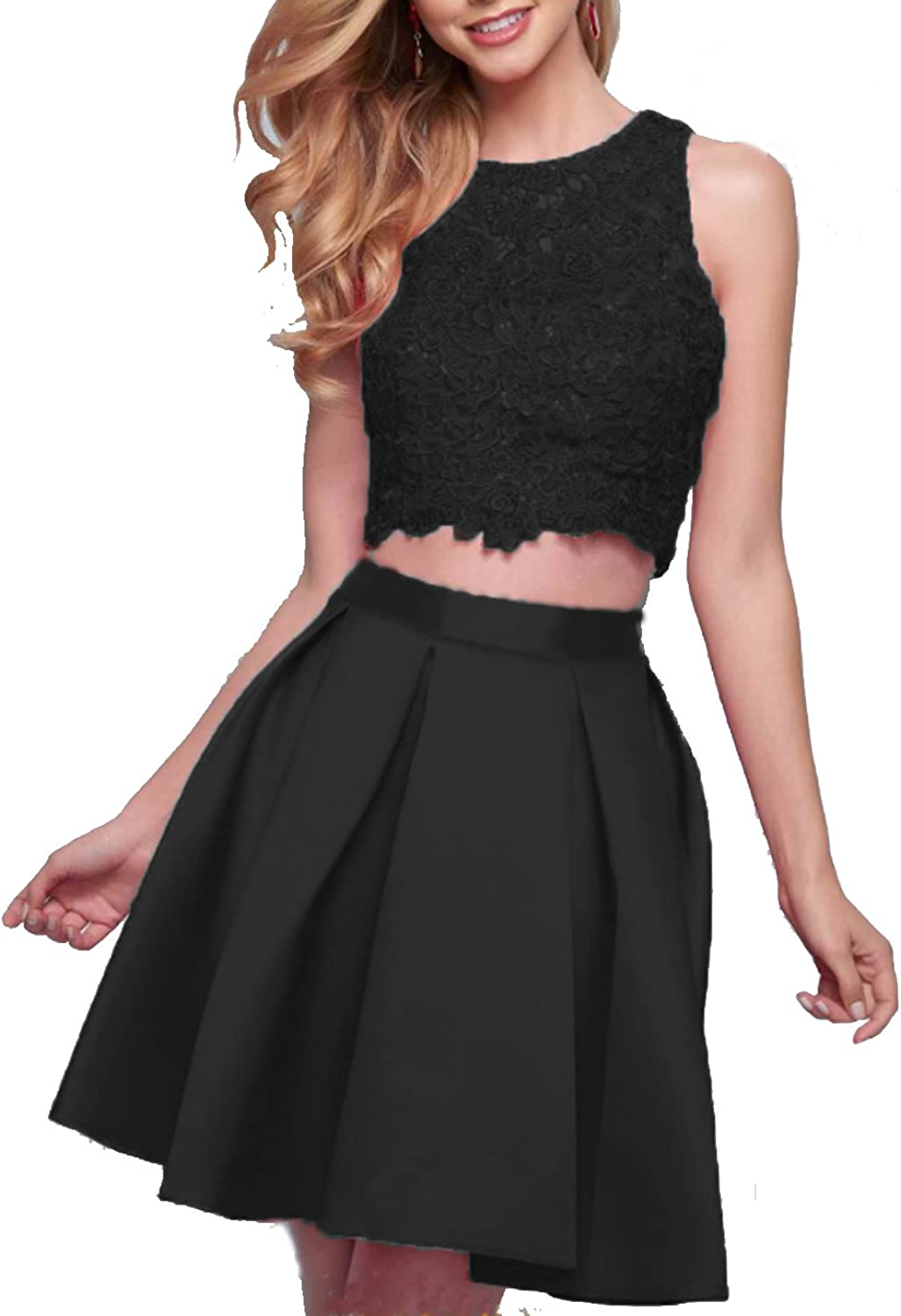 Jingliz Two Pieces Homecoming Dress Lace Appliques Beading Aline Short Cocktail Prom Dress