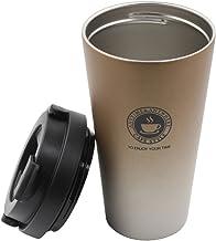 Portátil Taza de café de acero inoxidable con tapa, Autbye Doble pared con aislamiento al vacío Vaso de viaje para el agua diaria, Leche, bebidas, café o té 17.6oz/500ml (oro)