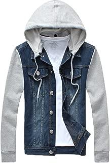 Men's Denim Hoodie Jacket Casual Full Zip Trucker Jacket Jean Coat