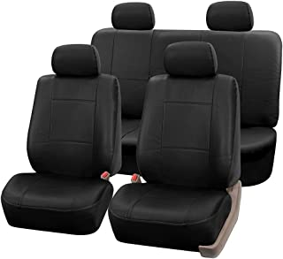 FH Group PU002114 Premium PU Leather Full Set Car Seat Covers, Airbag Compatible and Split Ready, Solid Black Color- Fit Most Car, Truck, SUV, or Van …