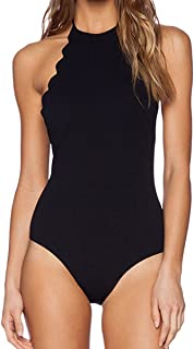 Women's Bathing Suit Scalloped High Neck Halter Backless 1 Piece Swimsuit