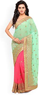 Indian Handicrafts Export Lenora Sea Green & Pink Pure Georgette Embroidered Saree Blue