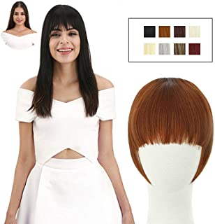 REECHO Fashion Full Length Synthetic 1 Piece Layered Clip in Hair Bangs Fringe Hairpieces Hair Extensions Color - Linen