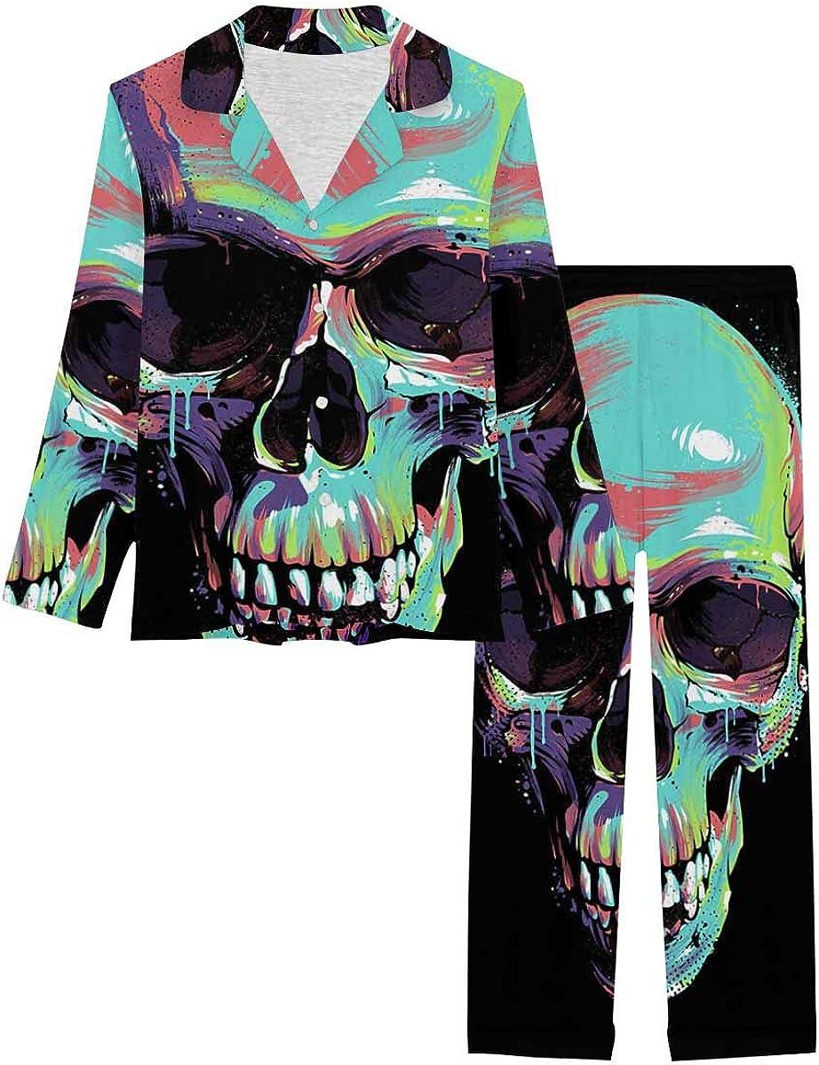 InterestPrint Soft Nightwear Loungewear with Long Pants Pajamas Set Bright Graffiti of Skull on Black Background