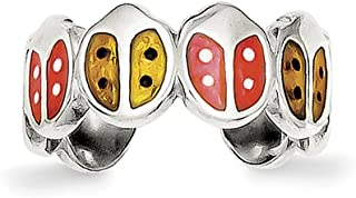 Lex & Lu Sterling Silver Red & Orange Enameled Ladybug Toe Ring