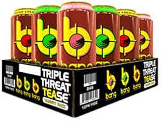Bang Energy Drink Triple Threat TEAse - Georgia Peach Sweet Tea, Sweet Ice Tea, Lemon Drop Sweet Tea 16 ounces (Pack of 12)