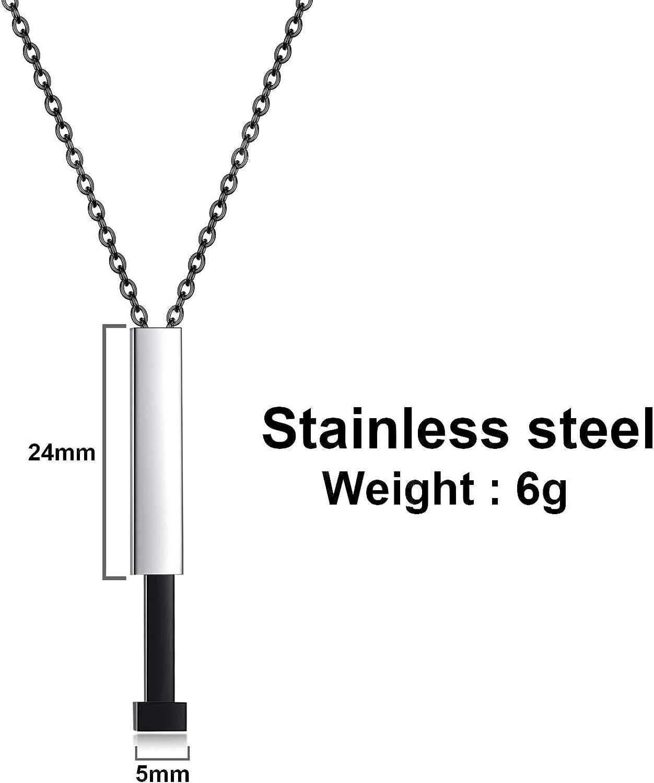 Engraved 3D Bar Pendant Medical Necklace JUST MEET YOU Custom Medical Necklace Pendant Personal Stainless Steel Medical Alert Id Necklace for Women Men with Adjustable Chain
