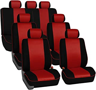 FH Group FH-FB063217 Three Row Cloth Car Seat Covers with Piping Airbag & Split Ready Red/Black- Fit Most Car, Truck, SUV, or Van