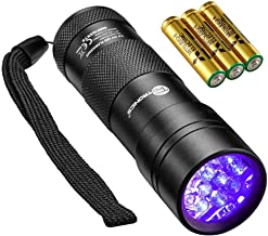 TaoTronics Black Light, UV Blacklight Flashlights, 12 LEDs 395nm, 3 Free AAA Batteries, Detector for Dry Pets Urine & Stains & Bed Bug