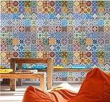 murimage Fototapete Mosaik Ornamente 274 x 254 cm Vintage Fliesen Retro Portugal Kacheln Muster Maritim Küche Bad inklusive Kleister