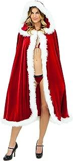 Women Christmas Cloak Mrs Santa Cape Xmas Red Velvet Cappa Hooded Robe Cosplay Costume